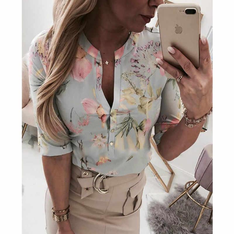 Frauen Lange Halb Hülse Lose Shirts Hemd OL Kleidung Plain Casual Taste Bluse Büro Dame Sommer Chiffon Shirts