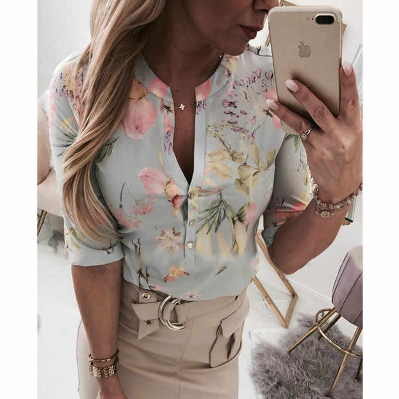 Kobiety długie pół rękawy luźne koszulki koszula OL ubrania zwykły Casual bluzka z guzikami urząd Lady letnie szyfonowe koszule