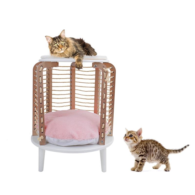 Jouet interactif de chat de corde de rayure de Jute de chaise ronde de meubles de chat d'animal familier rapide avec la taille 66 cm de jouet d'escalade de chat de tapis démontable