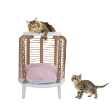 Speedy Pet Cat Furniture Round Chair Jute Scratching Rope Cat Interactive Toy with Removable Mat Cat Climbing Toy Height 66cm