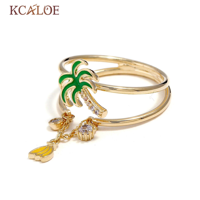KCALOE Fashion Gold Color Finger Ring Drip Coconut Tree Banana Pendant Crystal Rhinestone Ladies Rings For Women Anillos Mujer