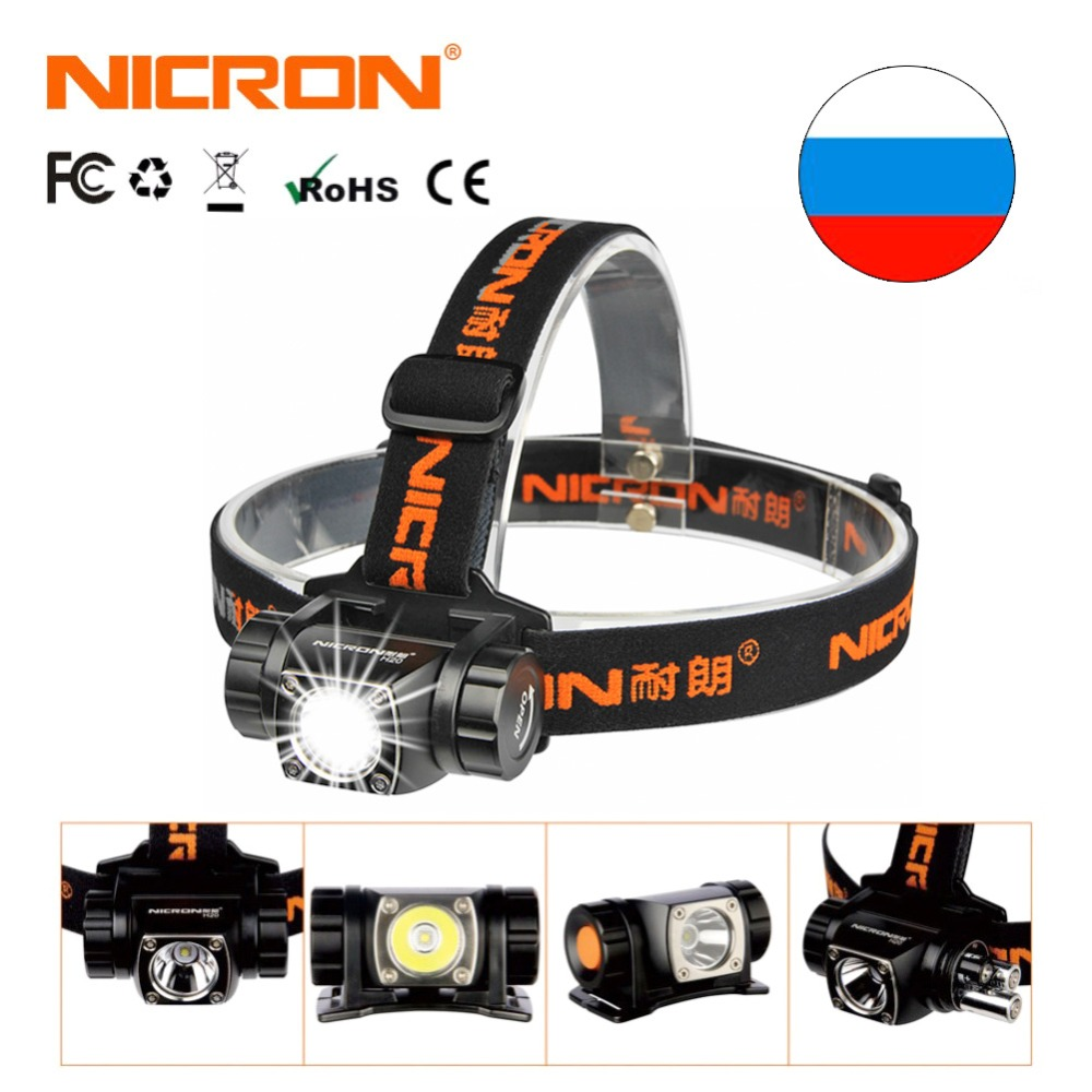 NICRON Mini Headlight Super Head Lamp AAA Battery 380LM 150M Waterproof Outdoor Flashlight Brightness Aluminum Torch Light H20 nicron long range rechargeable super led brightness headlamp 900lm 200m waterproof flashlight headlight torch outdoor use h30