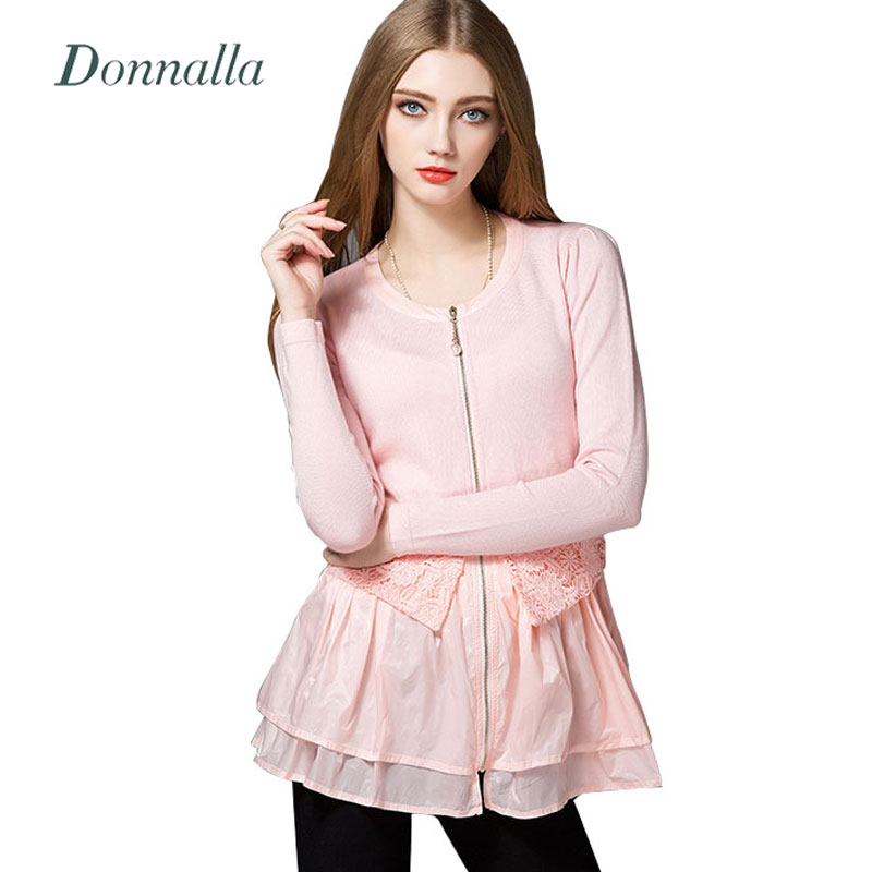 Women Lace Chiffon Patchwork Knitted Sweaters Fashion Autumn Spring Ladies Ruffles Zipper Cardigans Sweaters Coat For Women