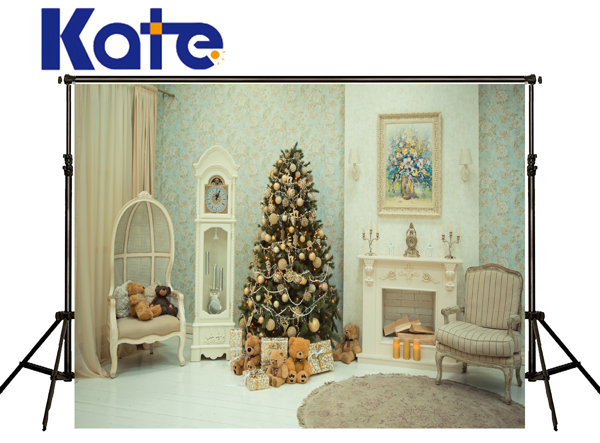 Kate Christmas Photography Backdrop Indoor Stove Bear  Fondo Navidad Grandfather Clock Chair Backgrounds For Photo Studio kate photography backdrops newborn baby black and white grid fondo navidad chess board backgrounds for photo studio