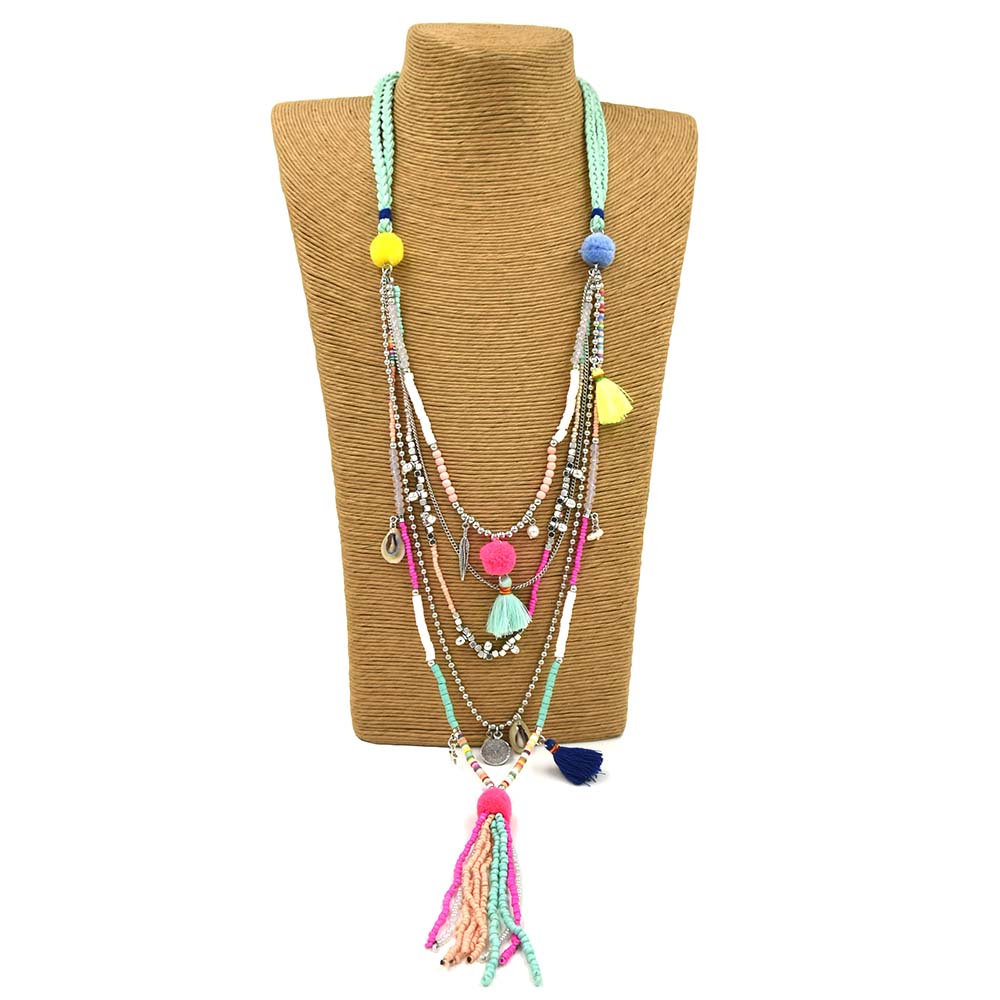 New Handmade Beads Tessal Pendents Multi Layers Necklace Unique Boho Bohemia Long Seedbeads Chain Necklace Necklaces For Women