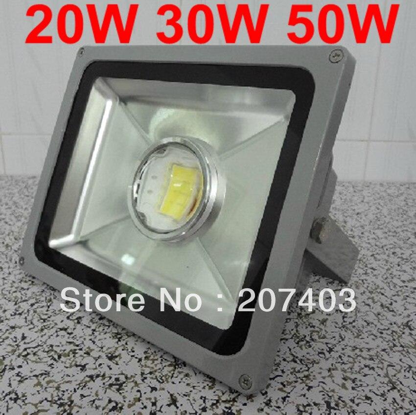 Livraison Gratuite Étanche Focus Lens 20 W 30 W 50 W Projecteur Led Projecteur 85-265 V Haute puissance paysage éclairage lampes