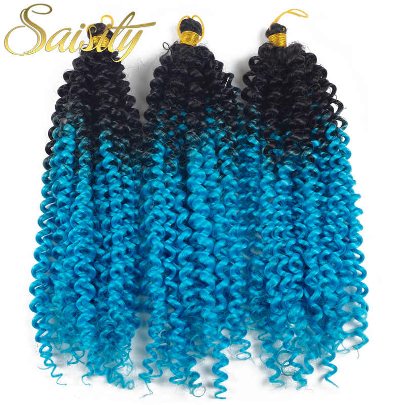 Saisity Afro Kinky Curly Crochet Hair Extensions Crochet Braids Low Temperature Fiber Synthetic Braiding Hair Bulk