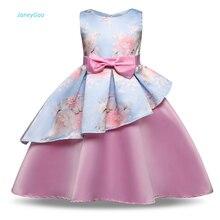 Купить с кэшбэком JaneyGao Flower Girl Dress For Wedding Party Birthday Prom Pageant Dress Little Girl Formal Dress Print Flower Cute And Elegant