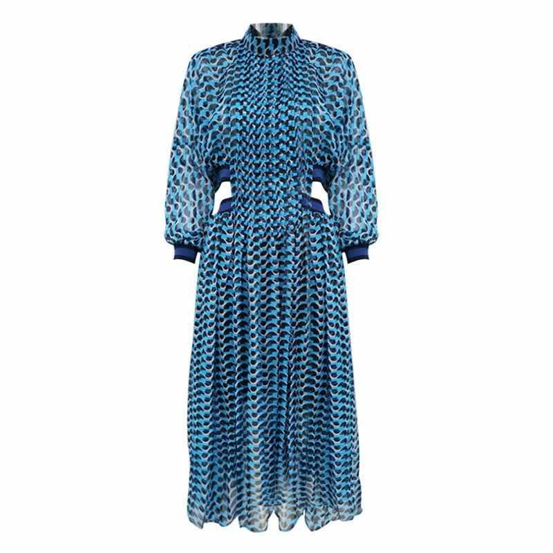Синие сексуальные элегантные Летние путешествия Boho пляжные женские длинные платья Алин фонарь для вечеринок рукав плед полый принт женское Макси-платье