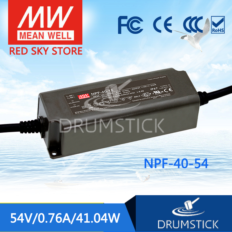 Hot sale MEAN WELL original NPF-40-54 54V 0.76A meanwell NPF-40 54V 41.04W Single Output LED Switching Power Supply mean well original npf 40d 36 36v 1 12a meanwell npf 40d 36v 40 32w single output led switching power supply