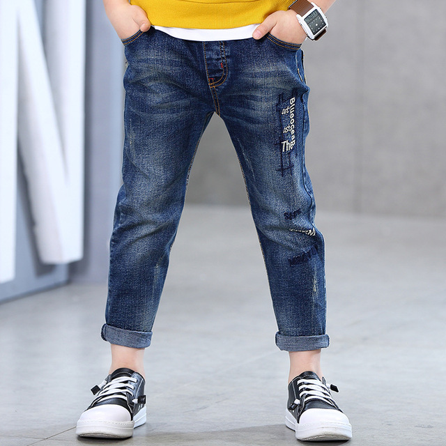 8011e1e49 REP Letter Embroidery Blue Boy Jeans Full Length Denim Pants Boys Trousers  Kids Clothes For 3 4 6 8 10 12 Years Old RKP175025