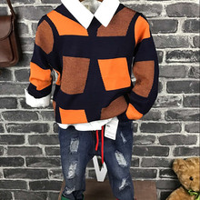 New Children Boys Fashion Clothing Sets Autumn Winter 3 Piece Suit Knitwear+shirt+ jeans Clothes Baby Cotton Brand Tracksuits