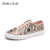 Smile Circle 2018 Spring Women Sneakers Fashion Flowers Embroidery Lace Up Flat Platform Shoes Girl Casual