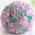 New Arrival Many Color Silver Brooch Wedding Bouquets Silk Artificial Flowers Bridal Bouquet with Ribbon Different Size