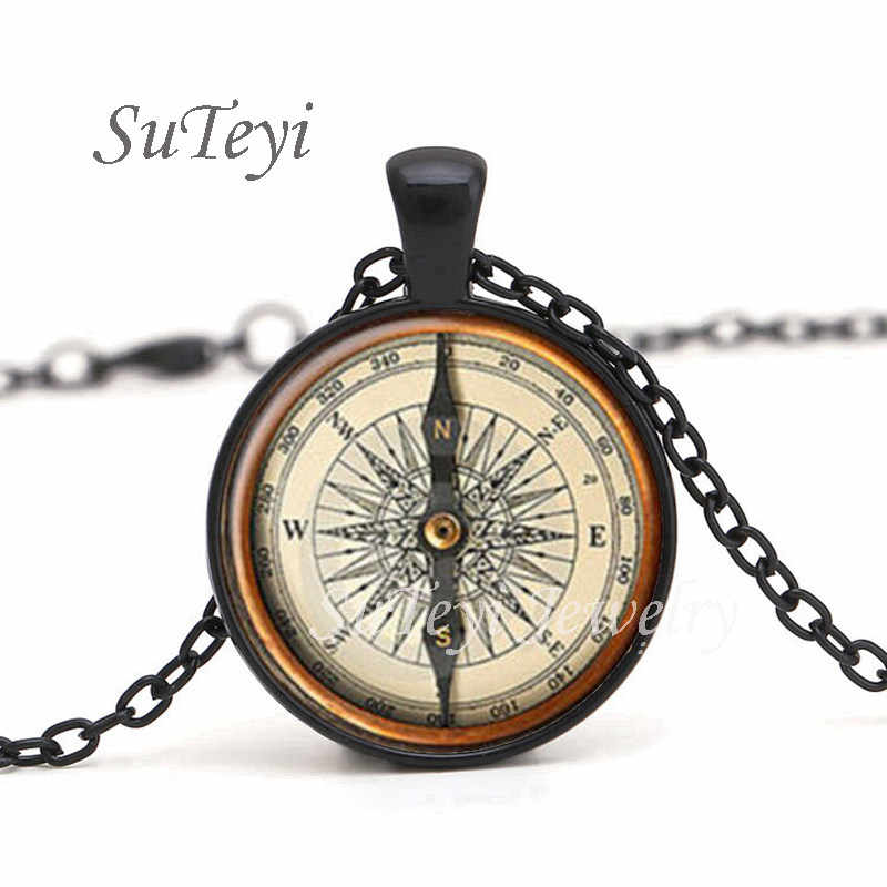 SUTEYI Hot Round Glass Cabochon Jewelry Steampunk Compass Pendant Necklace Vintage Necklaces For Men Women