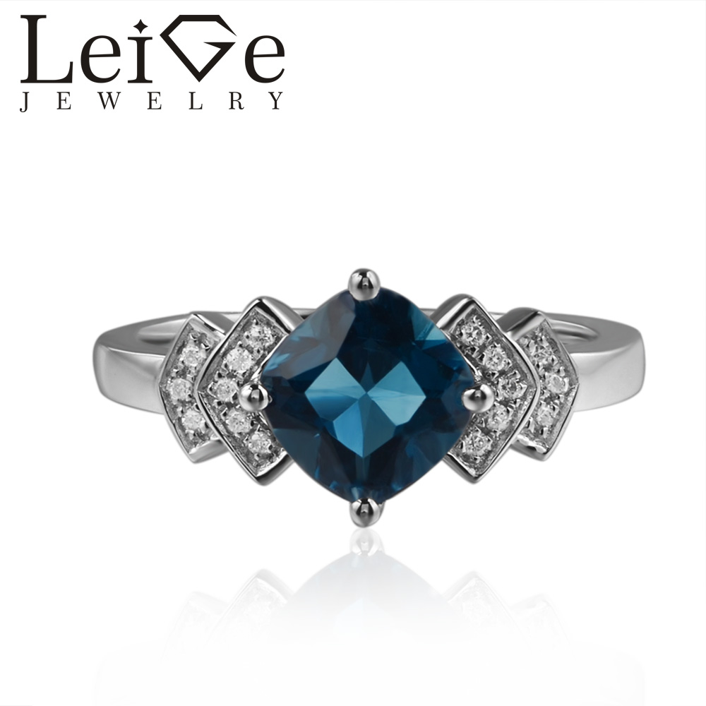 Leige Jewelry London Blue Topaz Rings Cushion Cut Blue Gemstone Engagement Rings For Woman 925 sterling silver Customized vera blue london