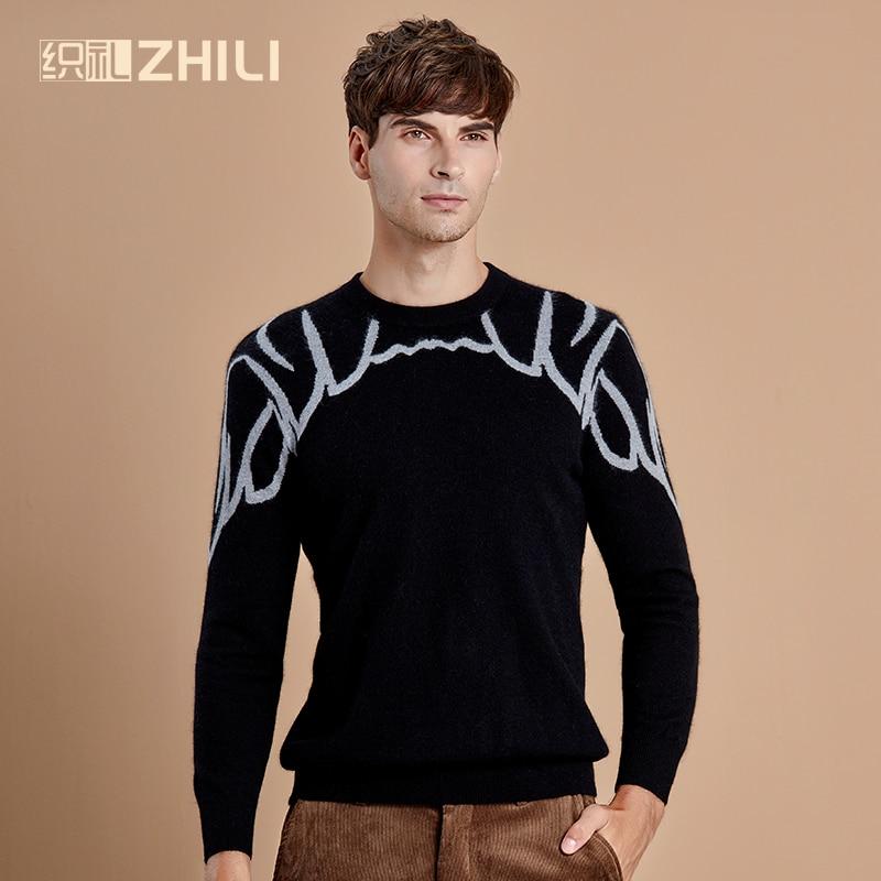 Зимние мужские вязаные кашемировые пуловеры, Геометрические Теплые Свитера с круглым вырезом размера плюс, модные джемперы с длинным рукав