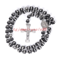 Vintage Classic Black Silicone Beads Rosary Silver Tone Stainless Steel Jesus Cross Pendant Necklace For Men