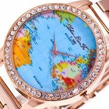 Женева Цвет карта мира Diamond Сплава циферблат розового золота 20 мм Нержавеющаясталь ремень Для Мужчин's пары Роскошные Кварцевые часы наручные часы c172