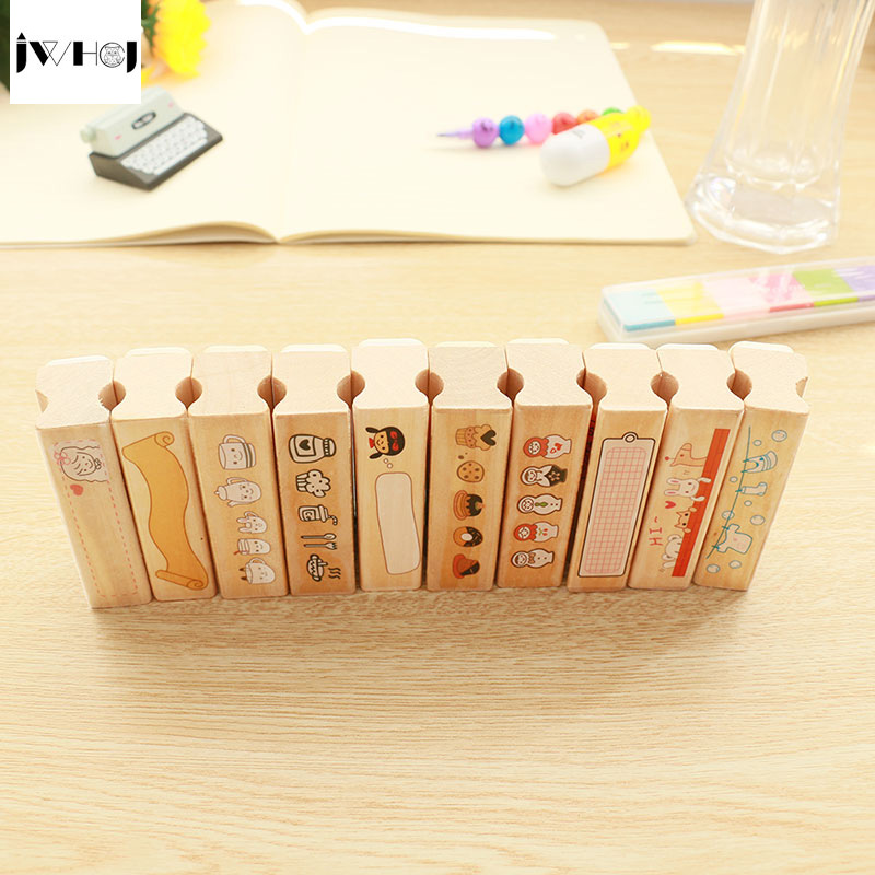 1 pcs Cute strip wooden rubber stamp Kids DIY Handmade Scrapbook Photo Album, students Stamps Arts, Crafts gifts