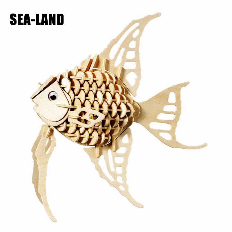 2019 New 3D Diy Wooden Puzzle Toys For Children Angel Fish Educational Puzzle An Animal Montessori Toy Hobby Gift For Kids Adult