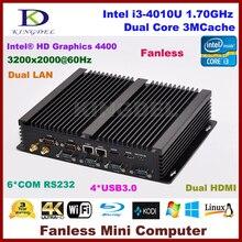 Безвентиляторный настольных ПК Окна 10 OS Intel Core i3 4010U, 2 HDMI 2 Gigabit LAN 6 com RS232, Wi-Fi, 4 г Оперативная память + 64 г SSD NC310
