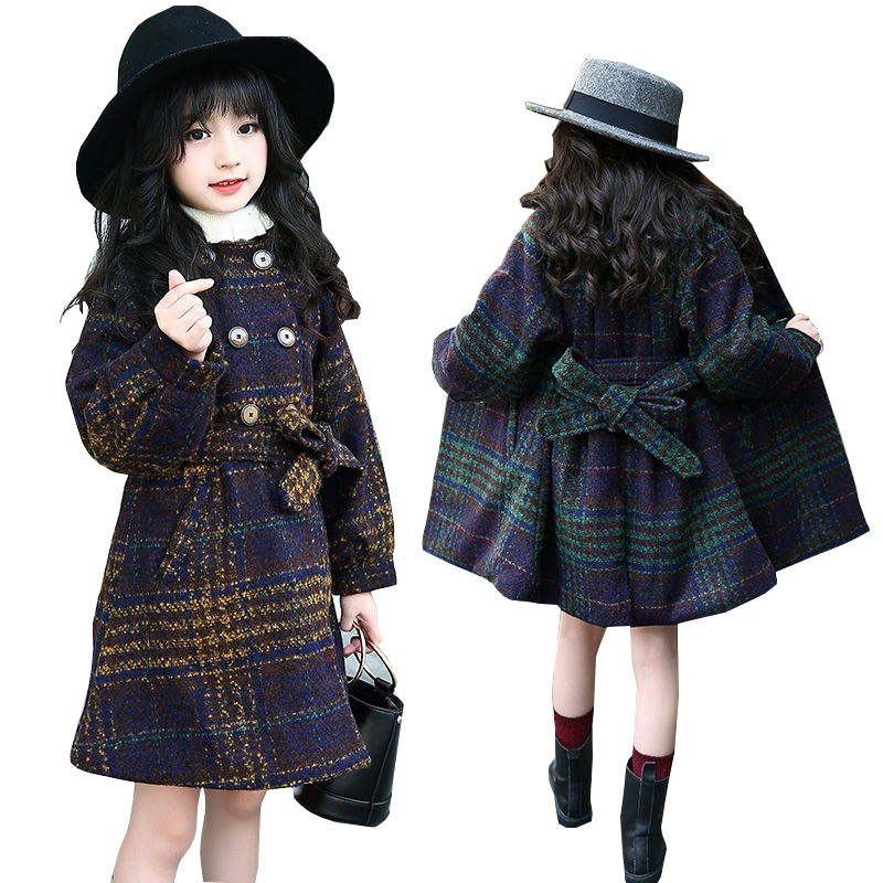 Kids Jacket for Girls Winter Coat Thick Warm Plaid Baby Girls Wool Coat for Girls Jacket Woolen Outerwear Children Clothing hot wheels dhy27 трасса для разделяющих гонщиков split speeders blade raid