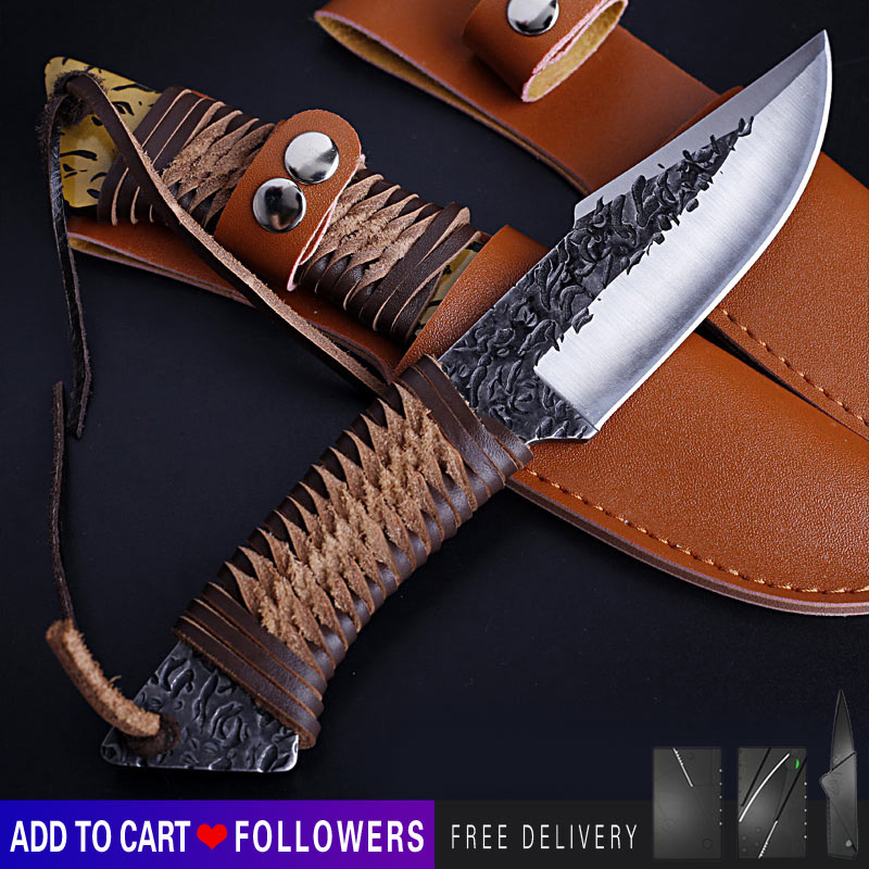 Handmade high hardness straight knife leather handle outdoor knife portable tactical field survival self-defense knife