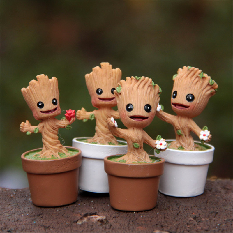 Toys Model-Figure Collection-Toys Groot Miniature Dolls Treeman with Pot Baby Elves