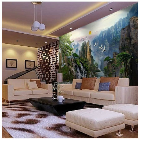Free Shipping Chinese Real 3D Three Dimensional Scenery Mural Background TV Living Room Video Wall