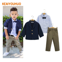 Children Clothing 2016 New Fashion Gentlemen Kids Casual Boys Clothing Sets Coat Jacket T Shirt Pants