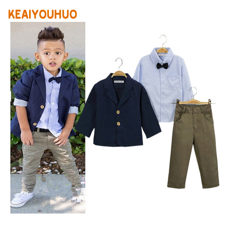Children clothing 2017 New fashion gentlemen kids casual boys clothing sets coat jacket T-shirt pants 3 pcs sports suit sets