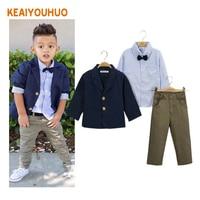 Children Clothing 2016 New Fashion Gentlemen Kids Casual Boys Clothing Sets Coat Jacket T Shirt Pants