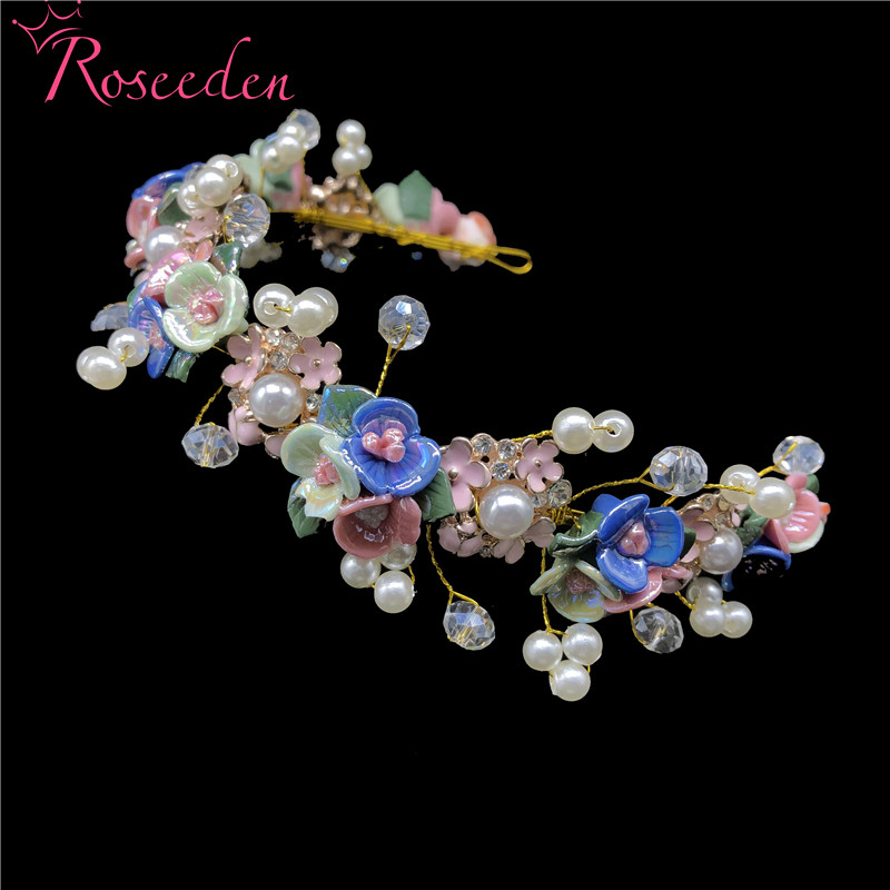 Newest Colorful Flowers Bridal Girls Hair Vine Headband Head Ornaments Wedding Hairband Hair Jewelry Accessories Tiaras RE3413-in Hair Jewelry from Jewelry & Accessories on Aliexpress.com | Alibaba Group