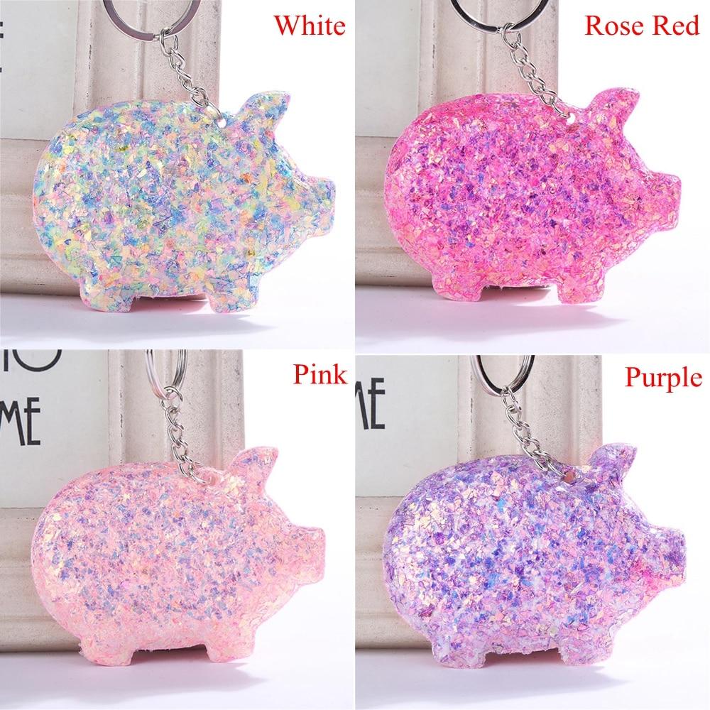 Accessories Animal Pattern Glitter Pig Keyring Sequins Keychain Handbag Pendant