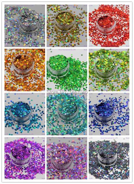 12 holográfica colores en forma de corazón del brillo de las lentejuelas de uñas y el arte DIY decora tamaño : 3 MM 1 Pack = 10g * 12 = 120 g
