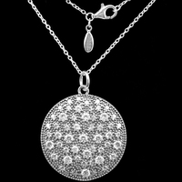 925 Sterling Silver Pendant Necklace 70CM Crystal Round Shield Pendants & Necklaces Women Sterling Silver Jewelry LN138