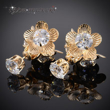 Iyoe Warna Emas Besar Trendi Double Wajah Bunga Anting-Anting 7 Mm Austrain Crystal Stud Earrings untuk Wanita Fashion Perhiasan(China)
