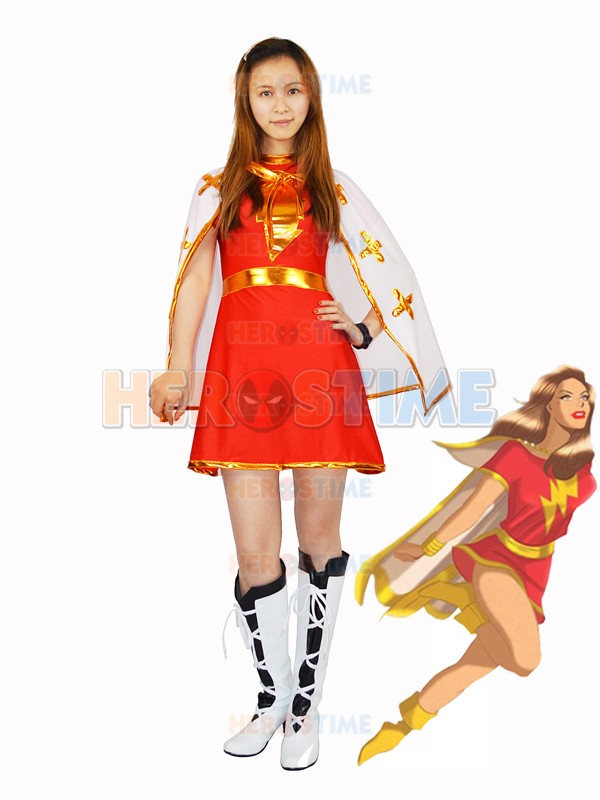The Flash Costume Spandex Red And White Marvel Family Mary Marvel Superhero Costume Heroine Shawl Dress Female Costume with Cape
