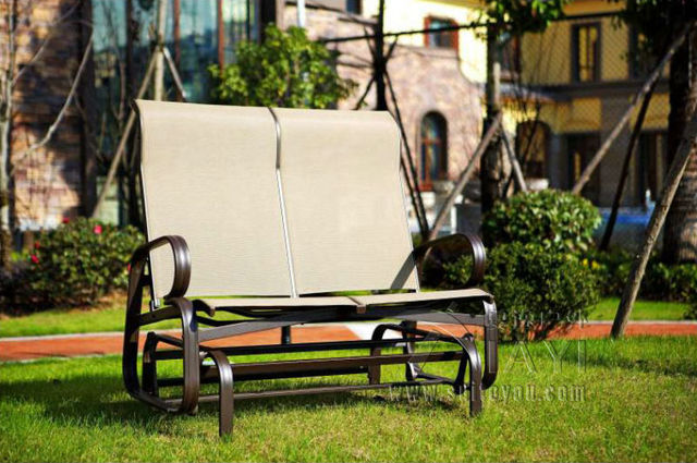 Cast Aluminum Patio Furniture Garden Furniture Outdoor Furniture Mesh  Fabric Furniture Double Seats Swing Chair