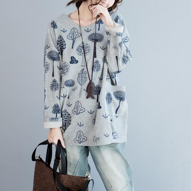 Mujeres Otoño Invierno de Algodón de Ocio Sueltos Árboles Impreso Gris Sudadera Plus Tamaño Camisas De Lana Bolsillos