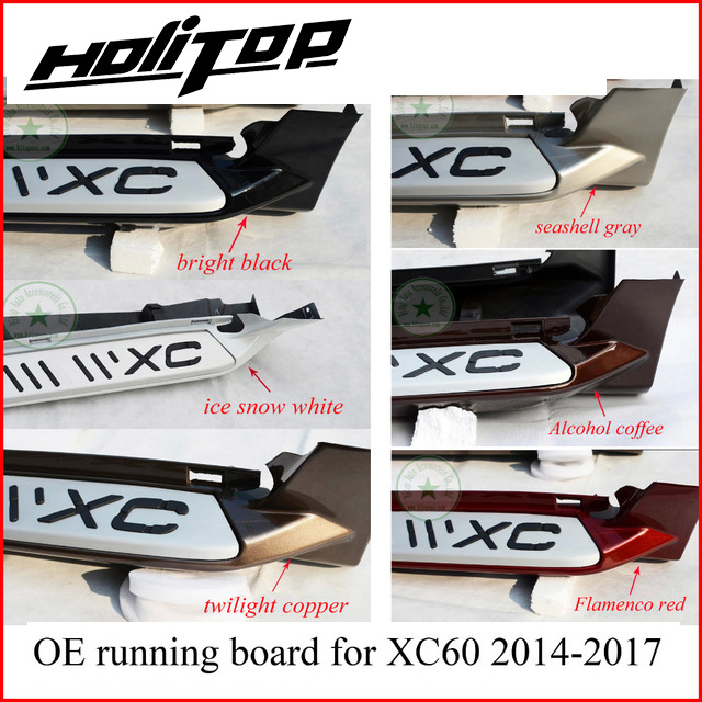 Barra laterale passo laterale in esecuzione bordo pedali per Volvo XC60 2014 2015 2016 2017, twelves colori, ISO9001 qualità, in lega di alluminio