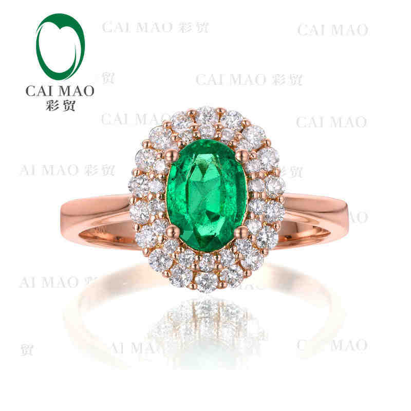 цены CaiMao 0.8ct Natural Emerald 18KT/750 Rose Gold 0.4ct Full Cut Diamond Engagement Ring Jewelry Gemstone
