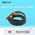 Wanlin 5 m rca cable de audio video cable de alimentación av cable negro para el dvr cctv cámara de vigilancia de seguridad