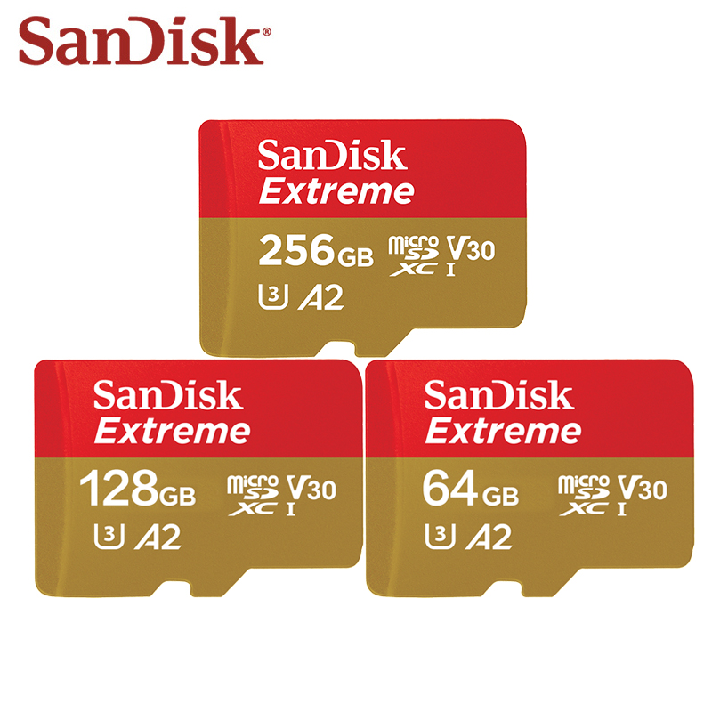 Original Sandisk Extreme Micro SD Card U3 V30 A2 64GB 128GB 256GB Flash Memory Card TF Card With Adapter For Sports Cameras