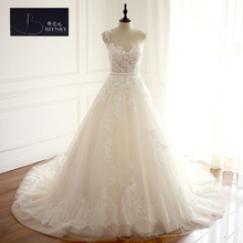 BRITNRY Scoop Tulle Chapel Train Wedding Dress with