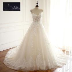 BRITNRY Высокое качество Scoop Тюль Кружево Аппликации Роскошные Часовня Поезд трапециевидной формы свадебное платье с пояса