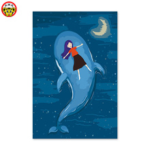 Digital painting blue sky moon – Whale girl paintings to draw by numbers  picture by numbers with paints diy painting by numbers