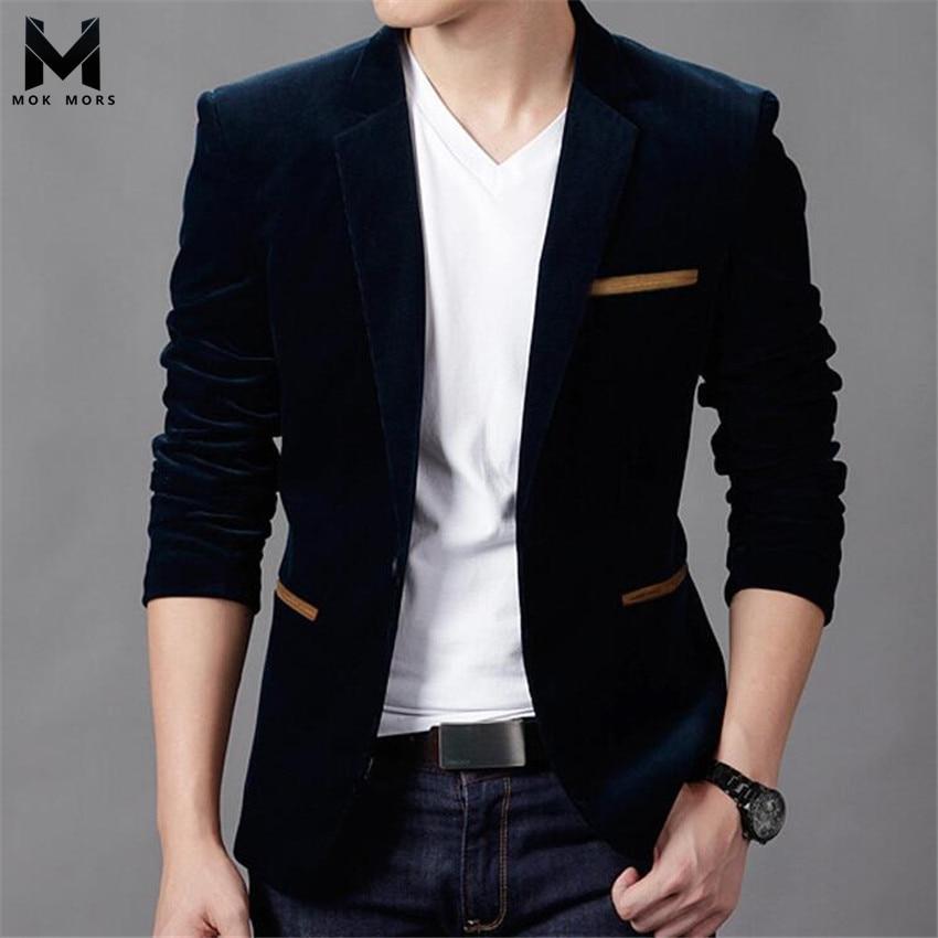 2018 New Men's British Style Business Casual Single Button Long Sleeve Mens Blazers Fashion Brand Casual Lapel Cotton Men Blazer