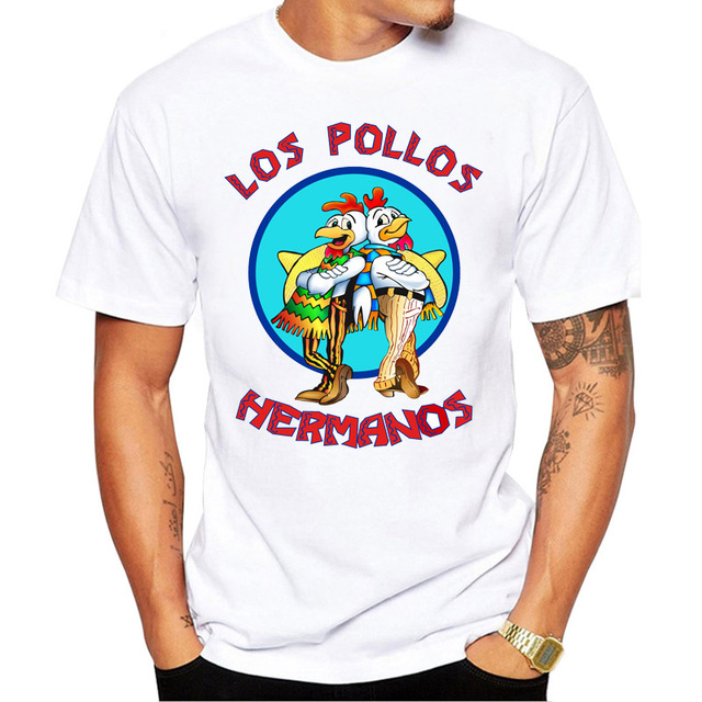 5307f9a1 LOS POLLOS HERMANOS Retro printed Men t-shirt Chicken Brother short sleeve  casual tops Breaking Bad hipster funny tee